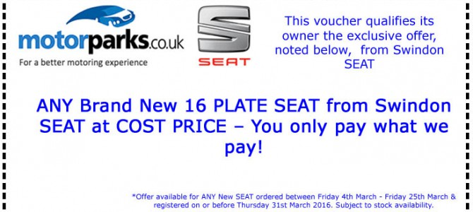 Exclusive to Swindon SEAT – You only pay what we pay – There's no catch! Just bring your voucher!