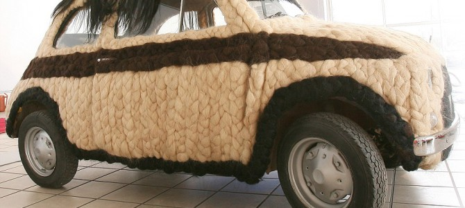 Italian designer spends £75,000 adding 100kg of HUMAN HAIR to her 40-year-old Fiat 500