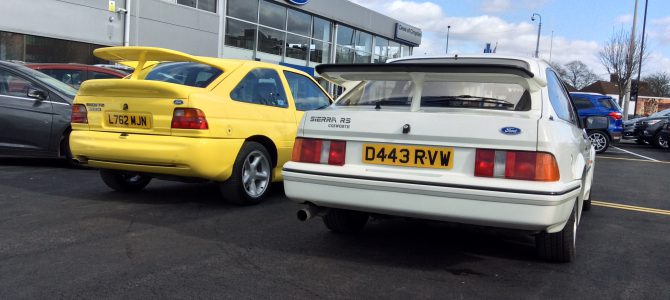 RS Cosworth Heritage cars pay a visit to Dees of Croydon